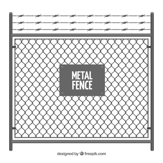 有刺鉄線のある金属フェンス 無料ベクター