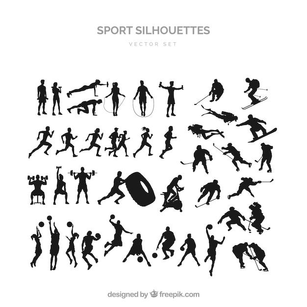 Спорт силуэт набор Бесплатные векторы