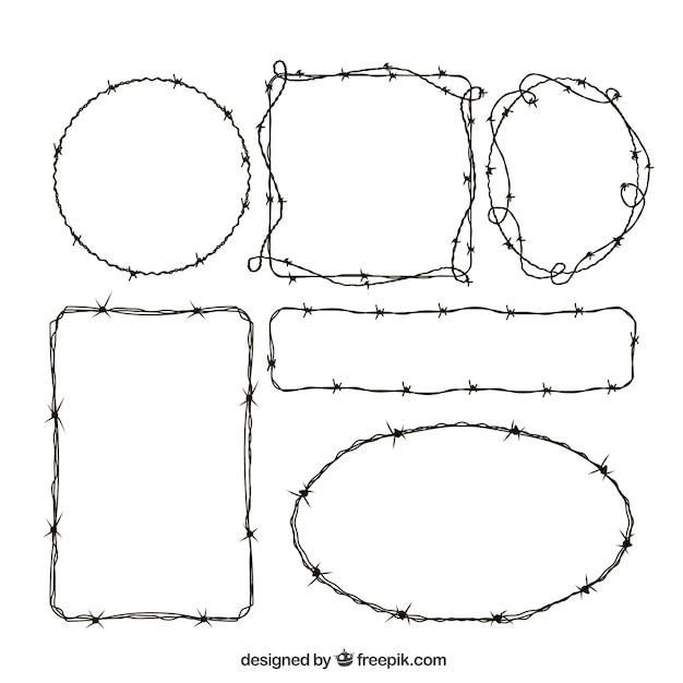 Набор крестообразных колючей проволоки Бесплатные векторы