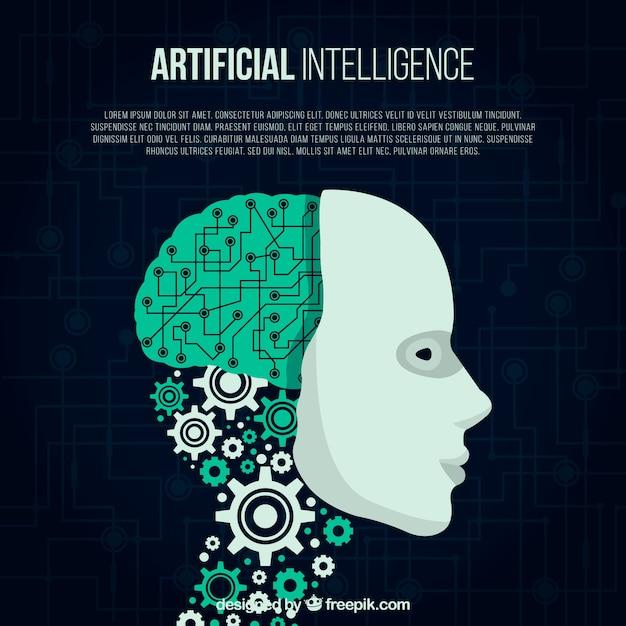 平らな人工知能の背景 無料ベクター