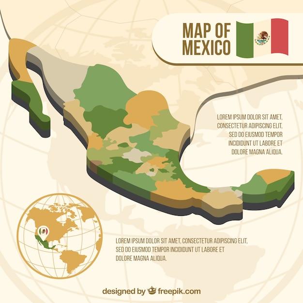 フラットメキシコの地図の背景 無料ベクター