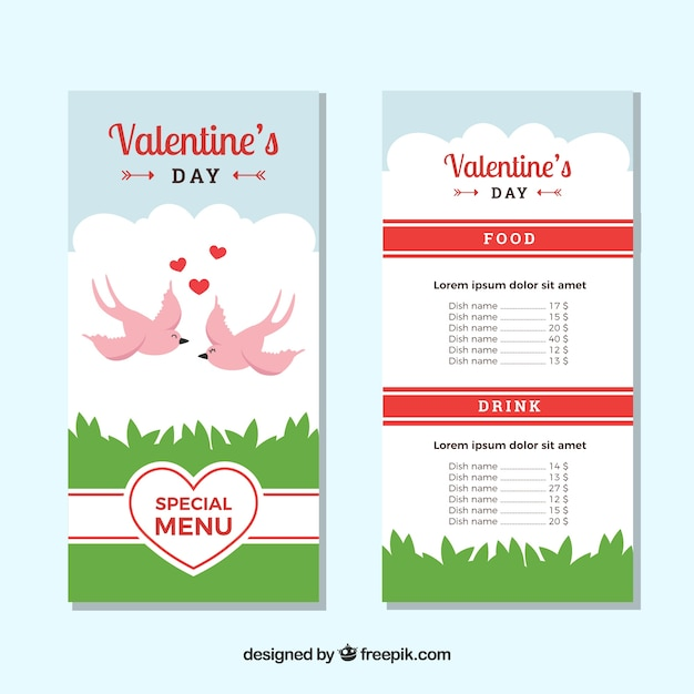 バレンタインメニューテンプレートと鳥 無料ベクター