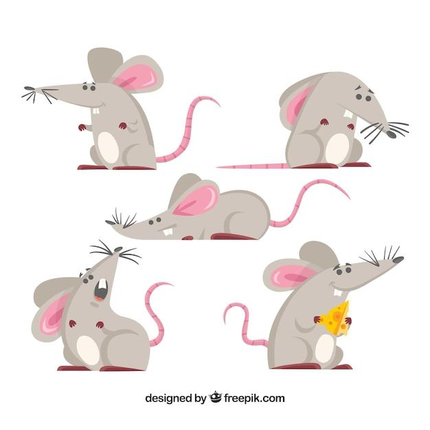 手描きのマウスコレクション 無料ベクター