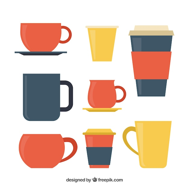 カラフルなコーヒーカップのパック 無料ベクター