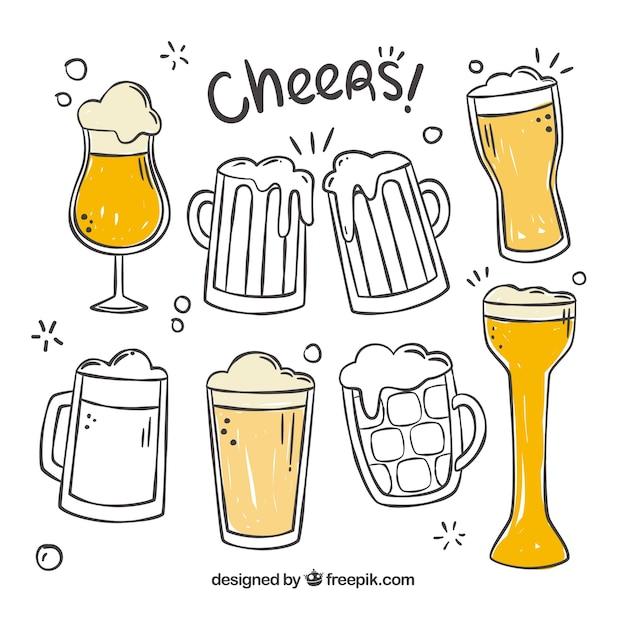 手描きのビールグラス&マグカップ 無料ベクター