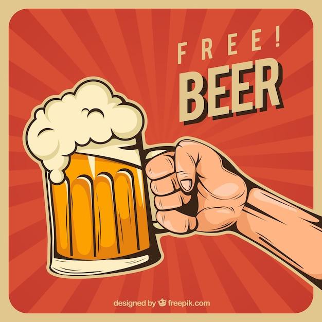 平らなビールの背景 無料ベクター