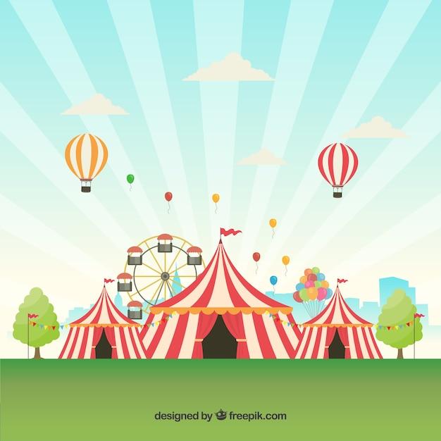 テントと風船を使ったカーニバルの背景デザイン 無料ベクター