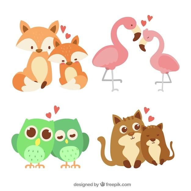 手描きのバレンタインデー動物カップルコレクション 無料ベクター