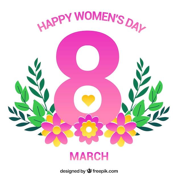 Счастливый женский день фон в плоском дизайне Бесплатные векторы