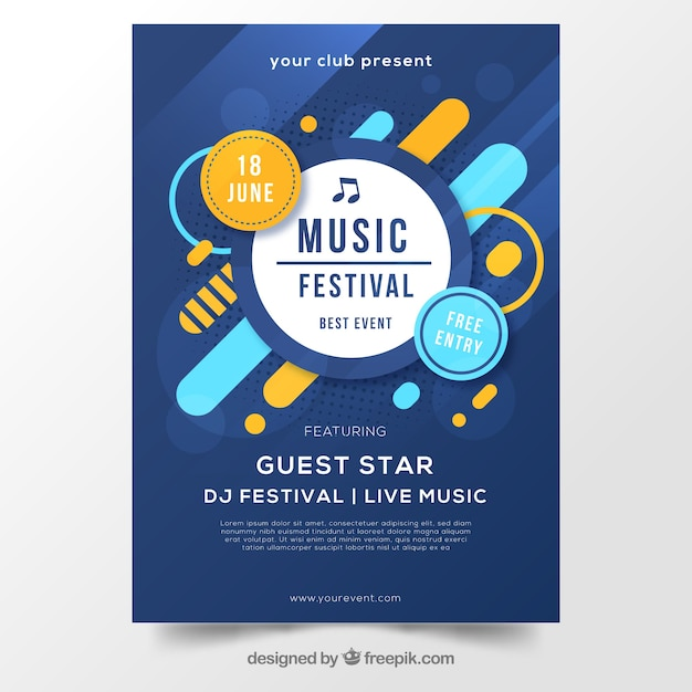 音楽祭のための抽象的な青のポスターデザイン 無料ベクター