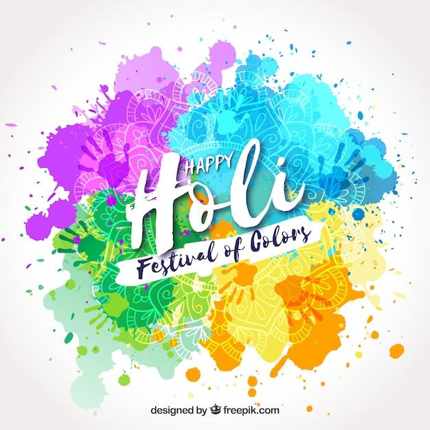 色のハッピーホリ祭りは、手描きの背景 無料ベクター