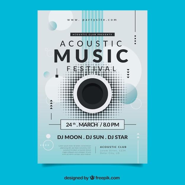 抽象的な形の音楽祭のポスター 無料ベクター