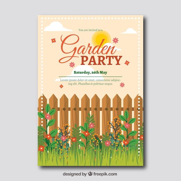 フェンスと草のガーデンパーティー招待状テンプレート 無料ベクター