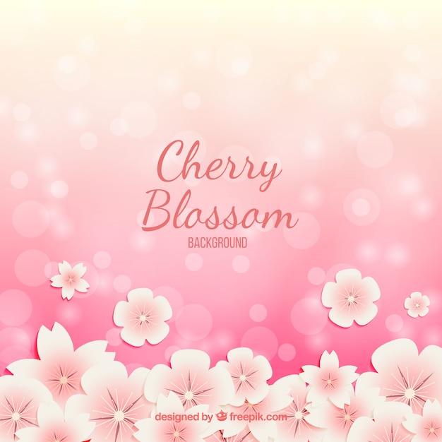Цвет вишневого цветка с эффектом боке Бесплатные векторы