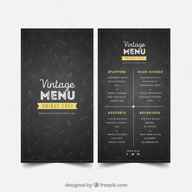Шаблон меню ресторана в винтажном стиле Бесплатные векторы