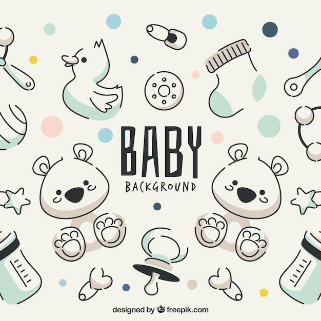 赤ちゃんの要素の背景に手描きのスタイル 無料ベクター