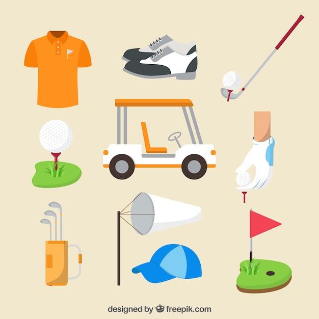 フラットスタイルのゴルフクラブコレクション 無料ベクター