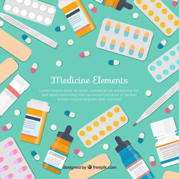 フラットスタイルの薬要素の背景 無料ベクター