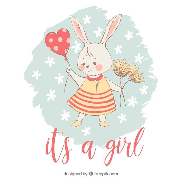 そのウサギとその女の子の背景 無料ベクター