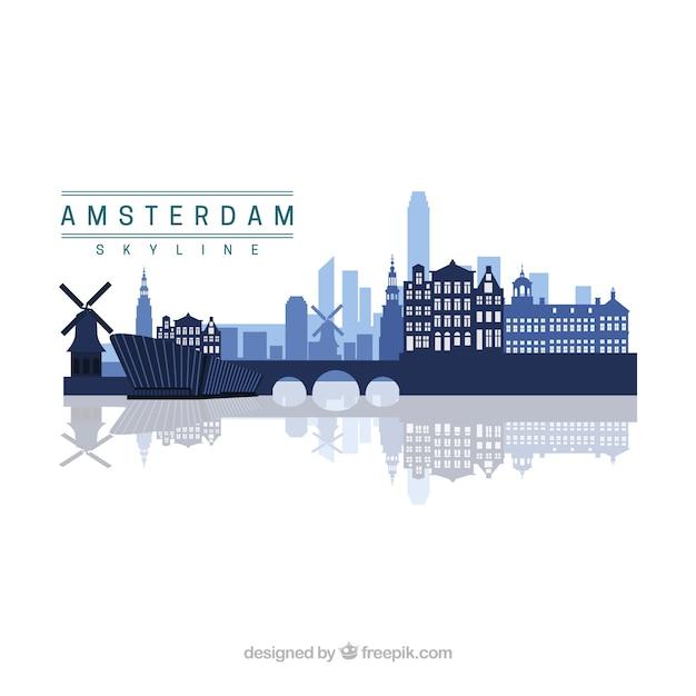 アムステルダムのスカイラインデザイン 無料ベクター