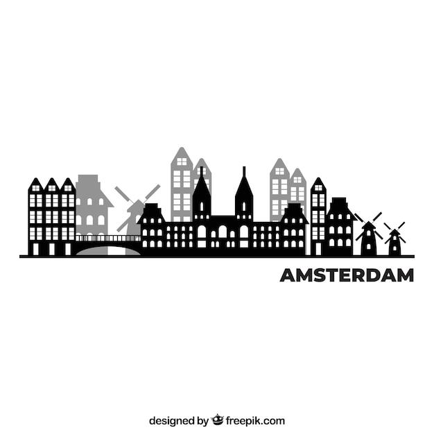 アムステルダムの黒と白のスカイラインデザイン 無料ベクター