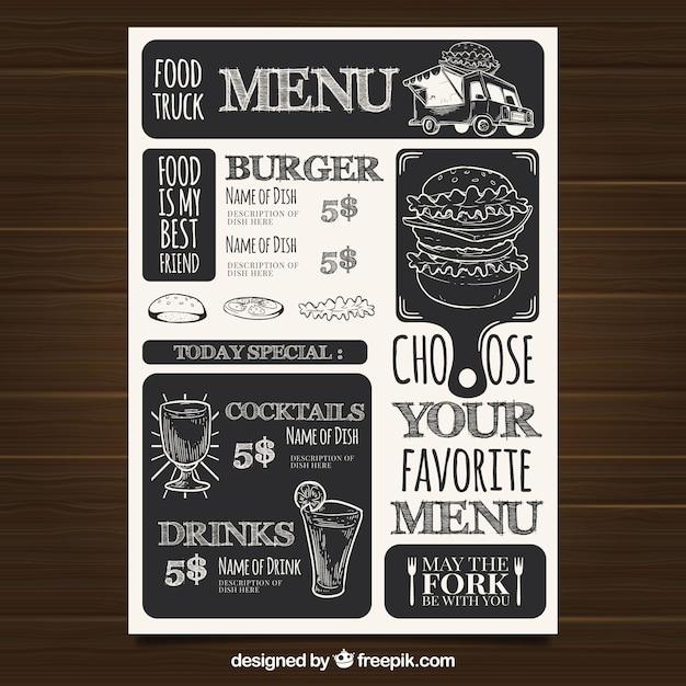 Шаблон меню ресторана с фаст-фудом Бесплатные векторы