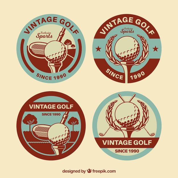 レトロスタイルのゴルフラベルのコレクション 無料ベクター