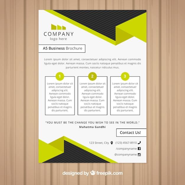 黒と黄色のビジネスパンフレットデザイン 無料ベクター