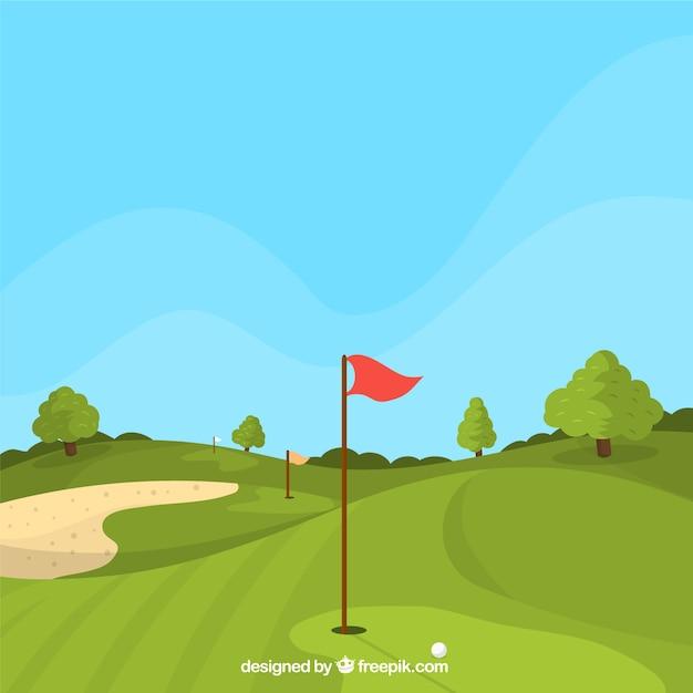 フラットスタイルのゴルフコースの背景 無料ベクター