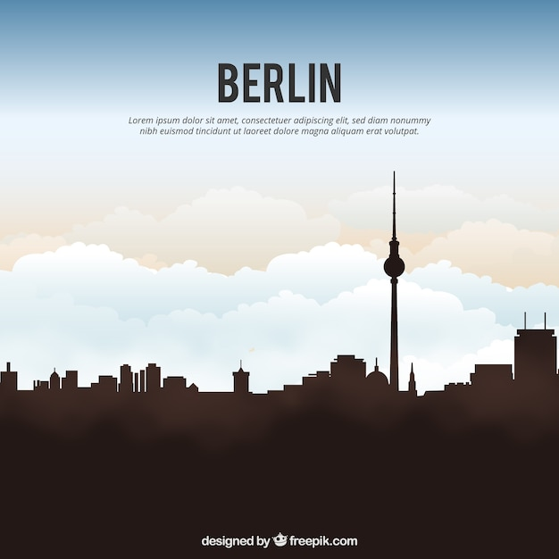 ベルリンのスカイラインシルエットの背景 無料ベクター