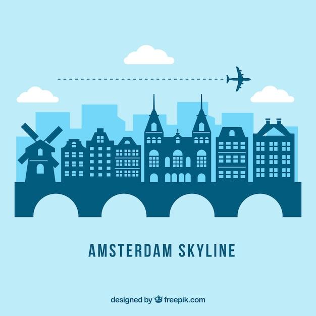 Синий амстердамский горизонт Бесплатные векторы
