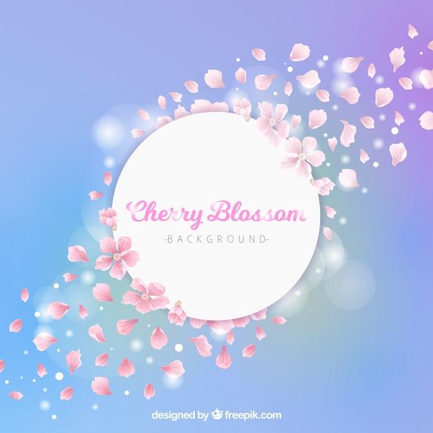 Блестящий фон из цветущей вишни Бесплатные векторы