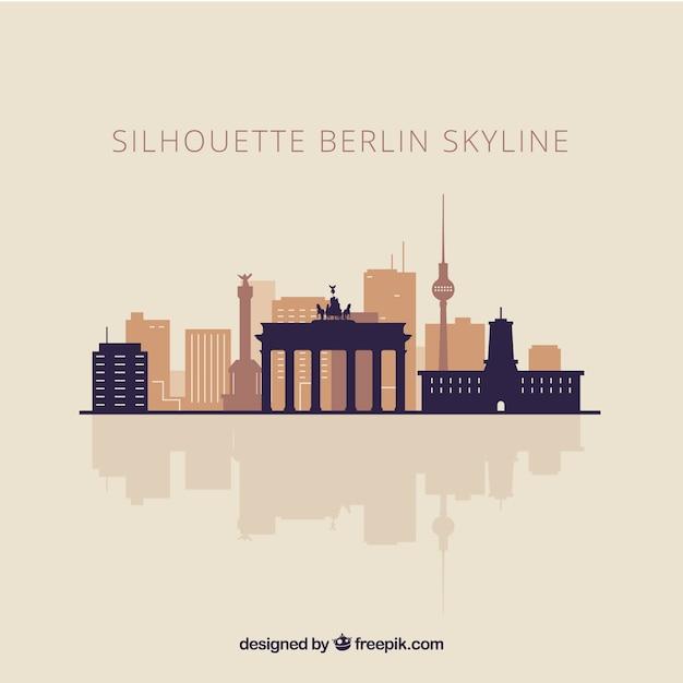 ベルリンのスカイラインシルエット 無料ベクター