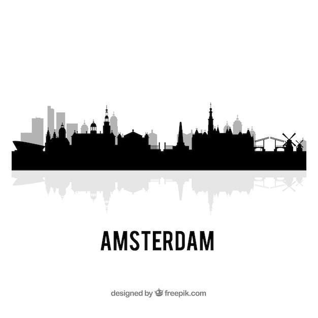 アムステルダムのスカイライン 無料ベクター