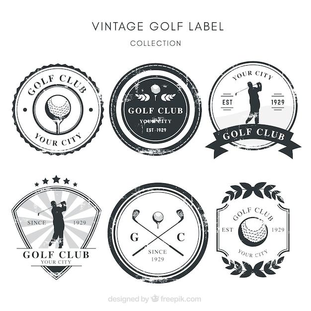 Коллекция черно-белых ярлыков для гольфа Бесплатные векторы