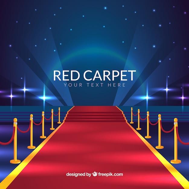 現実的なスタイルのレッドカーペットの背景 無料ベクター