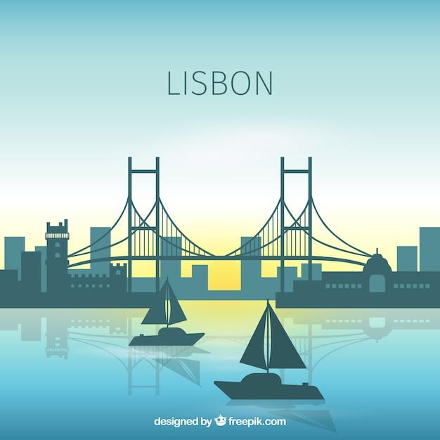 リスボンの美しいスカイライン 無料ベクター