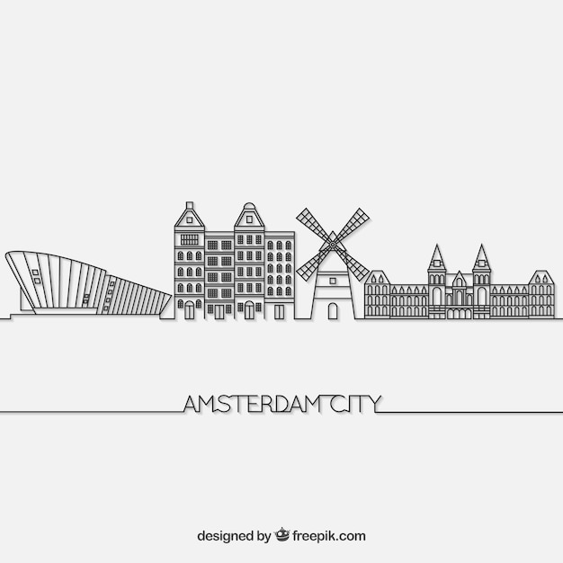 Скайлайн амстердам Бесплатные векторы