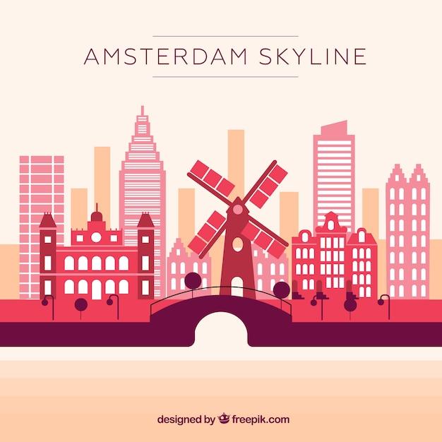 Розовый горизонт амстердама Бесплатные векторы