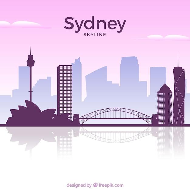 シドニーのピンクのスカイライン 無料ベクター