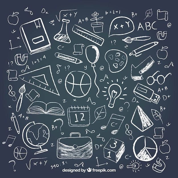 異なる学校要素を黒板スタイルで 無料ベクター
