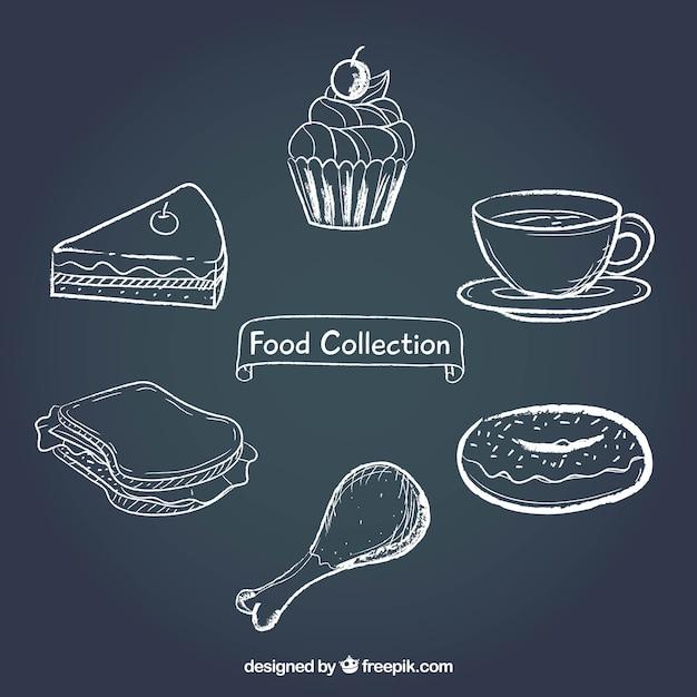 チョコレートスタイルの食料品の収集 無料ベクター