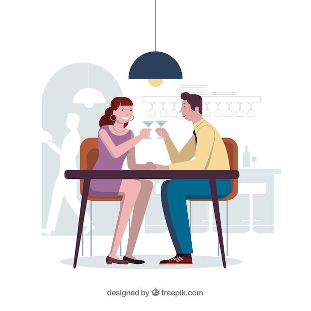 ロマンチックなディナーでカップルを愛する 無料ベクター