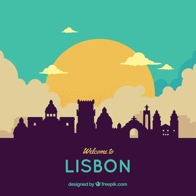 リスボンのカラフルなスカイライン 無料ベクター