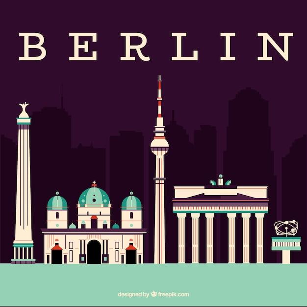 ベルリンのモニュメントのスカイライン 無料ベクター