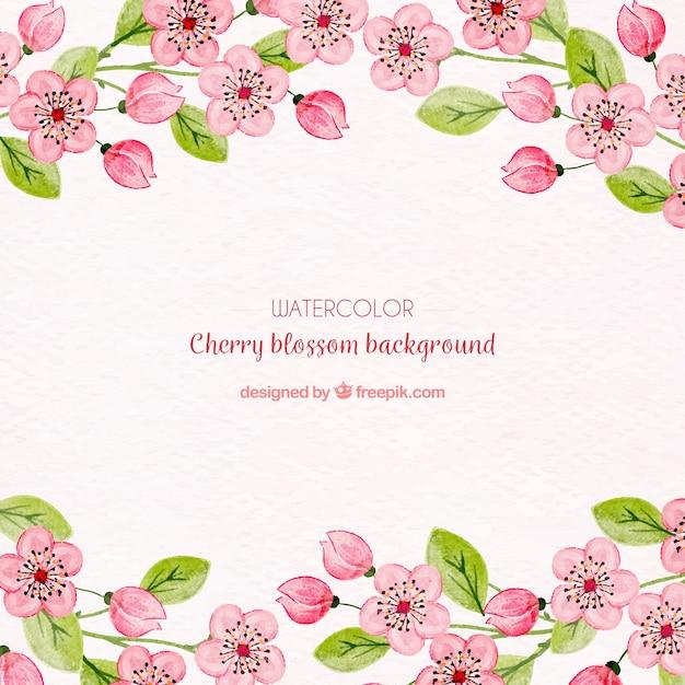 Цвет вишневого цветка с акварельными цветами Бесплатные векторы