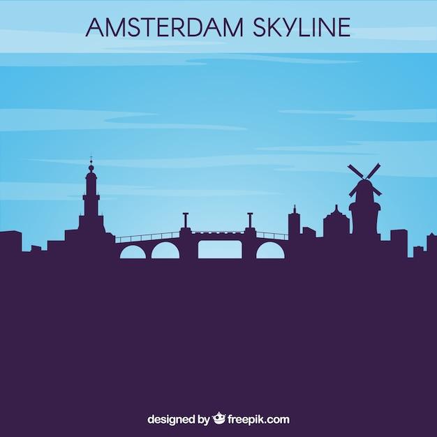 シルエットアムステルダムのスカイラインの背景 無料ベクター