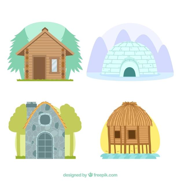 異なるタイプの住宅 無料ベクター