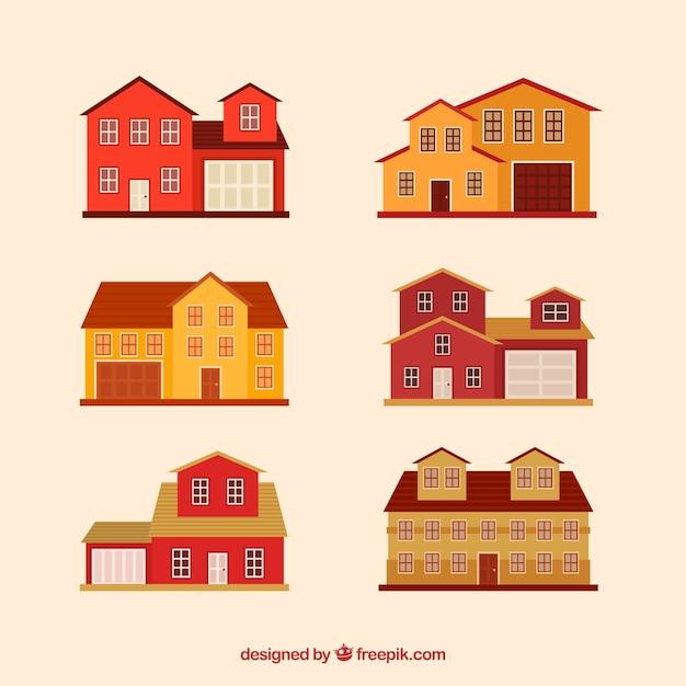 赤と黄色の家 無料ベクター
