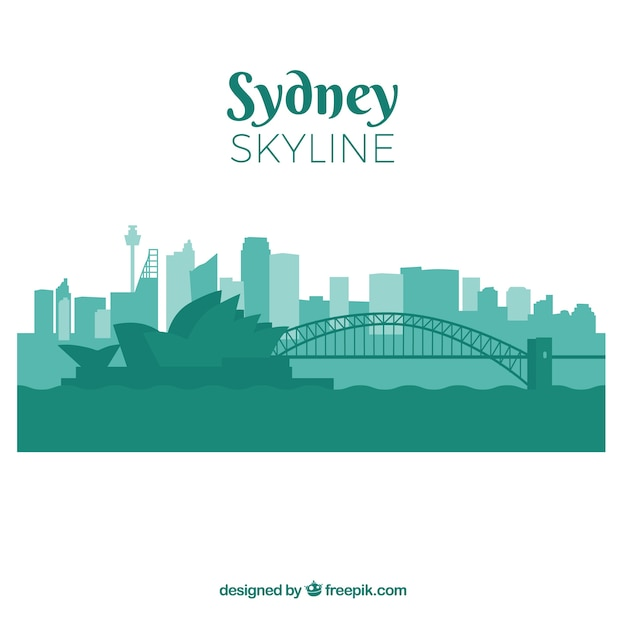 シドニー市のスカイラインシルエット 無料ベクター